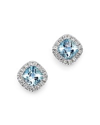 Bloomingdale's Aquamarine Cushion Cut And Diamond Stud Earrings In 14K White Gold Aqua White