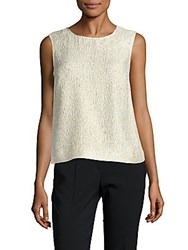 Oscar De La Renta Silk Blend Sleeveless Top Pale Gold