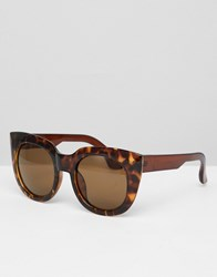 Jeepers Peepers Chunky Frame Cat Eye Sunglasses Brown