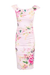 Jolie Moi Floral Print Ruched Wiggle Dress Pink