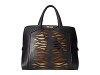 Just Cavalli Tiger Carved Leather Top Handle Bag