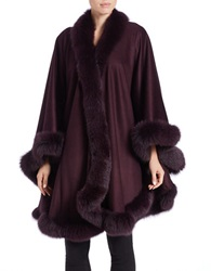 Sofia Cashmere Cashmere And Fox Fur Cape Plum