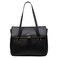 Tula Originals Large Leather Double Zip Flapover Tote Bag Black