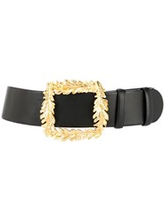 Oscar De La Renta Small Leaf Belt Black