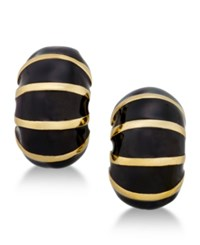 Erwin Pearl Atelier For Charter Club Gold Tone Striped Enamel Huggie Earrings Only At Macy's Black Gold