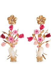 Of Rare Origin Forget Me Not Gold Vermeil Multi Stone Earrings Pink