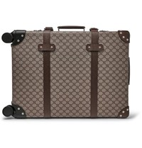 Gucci Globe Trotter Leather Trimmed Monogrammed Coated Canvas Carry On Suitcase Beige