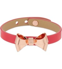 Ted Baker High Shine Leather Bow Bracelet Fuchsia