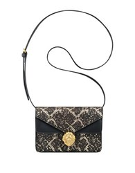 Anne Klein Diana Small Double Flap Crossbody Bag Black Gold