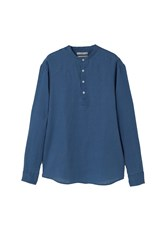 Mango Regular Fit Mao Collar Linen Shirt Blue