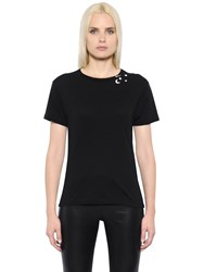 Saint Laurent Stars And Sl Print Cotton Jersey T Shirt