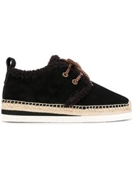 See By Chloe Glyn Lace Up Espadrilles Leather Suede Rubber Brown