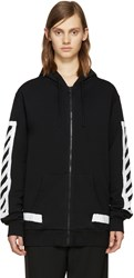 Off White Black Striped Diagonals Hoodie