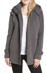 Kenneth Cole New York Bonded Hooded A Line Jacket Grey