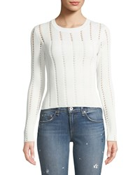 Bailey 44 Siberian Pointelle Knit Ribbed Sweater White