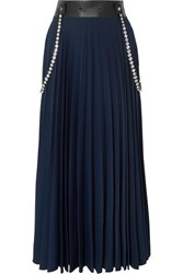 Christopher Kane Embellished Leather Trimmed Pleated Cady Maxi Skirt Navy