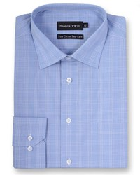 Double Two Men's Checked Long Sleeved Formal Shirt Blue