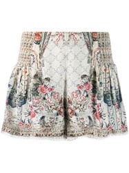 Camilla Floral Flared Shorts Neutrals
