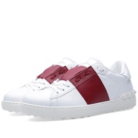 Valentino Open Low Top Sneaker White And Red