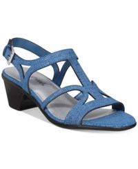 Easy Street Shoes Britney Sandals Women's Blue Metallic Print