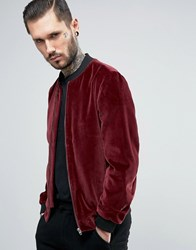 Noose And Monkey Velvet Bomber Burgundy Red