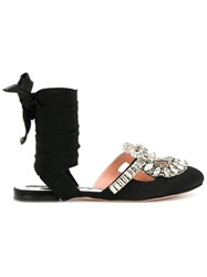 Rochas Silver Tone Embellished Sandals Women Silk Calf Leather Leather Glass 38.5 Black