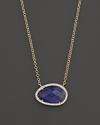 Meira T 14K Yellow Gold Small Tanzanite And Diamond Necklace 16 Yellow Gold Blue