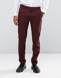 Only And Sons Skinny Suit Trousers In Marl Burgundy Red