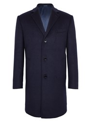 Paul Costelloe Men's Leicester Wool Rich Overcoat Navy