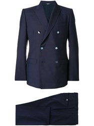 Dolce And Gabbana Double Breasted Two Piece Suit Blue