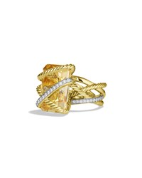 Cable Wrap Ring With Citrine And Diamonds In Gold David Yurman