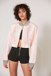 Without Walls Katey Embroidered Parachute Cropped Bomber Jacket White