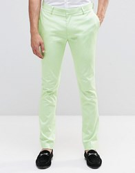 Asos Super Skinny Trouser In Mint Cotton Sateen Mint Green