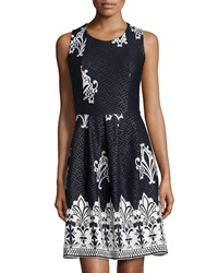 5Twelve Jacquard Sleeveless Fit And Flare Dress Navy White