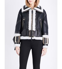 Burberry Cheshire Leather Biker Jacket Black Ecru