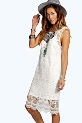Boohoo Crochet Lace Midi Dress White