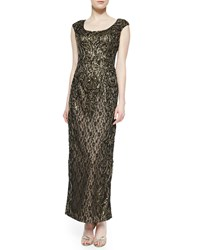 Sue Wong Cap Sleeve Beaded Metallic Lace Gown Black Nude