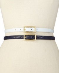 Style And Co. 2 For 1 Smooth Texture Belt White Navy