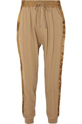 Haider Ackermann Striped Satin Trimmed Cotton Jersey Track Pants Light Brown