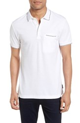 French Connection Men's Pique Polo White Marine