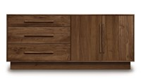 Copeland Furniture Moduluxe 29 Inch 3 Drawer On Left 2 Door On Right Dresser 62 Parchment Maple Black Light Brown Brown