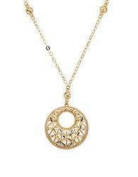 Lord And Taylor 14K Yellow Gold Circle Pendant Necklace