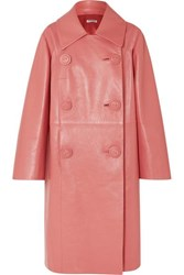 Miu Miu Double Breasted Leather Coat Pink