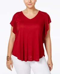Eyeshadow Plus Size Flutter Sleeve Top Heather Grey