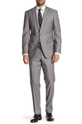 Vince Camuto Medium Gray Striped Two Button Notch Lapel Trim Fit Suit Medium Grey Stripe