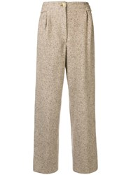 Gianfranco Ferre Vintage High Rise Straight Trousers Nude And Neutrals