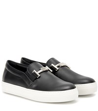 Tod's Sportivo Double T Leather Slip On Sneakers Black