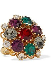 Dolce And Gabbana Gold Tone Crystal Ring Gold
