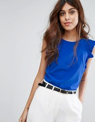 Warehouse Ruffle Detail Shell Top Bright Blue