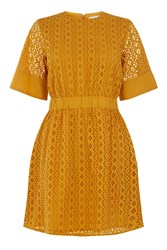 Warehouse Broderie Dress Yellow